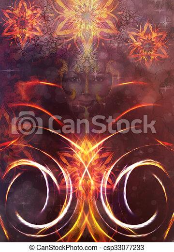 Dibujos de hermoso ornamental diosa mujer color resumen