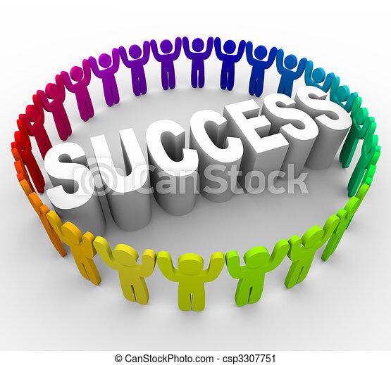 Succeed - People Surrounding Word - csp3307751