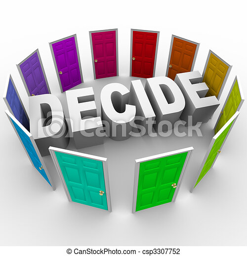 Decide - Word Surrounded by Doors - csp3307752