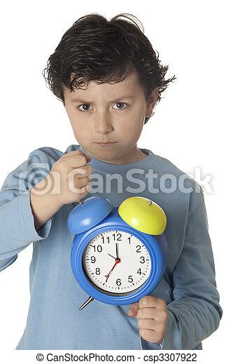 cedo, zangado, acorde-se, criança - csp3307922
