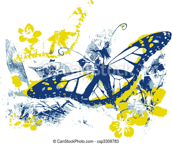 nature beauty with butterfly and view - csp3309783