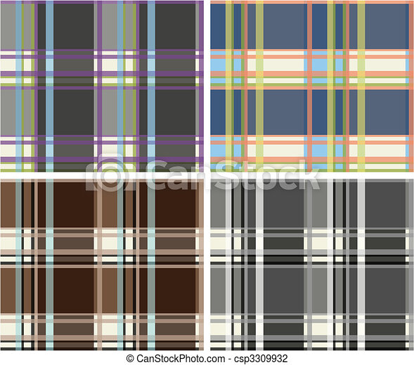 Seamless plaid fabric pattern background - csp3309932
