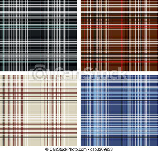 Seamless plaid fabric pattern background - csp3309933