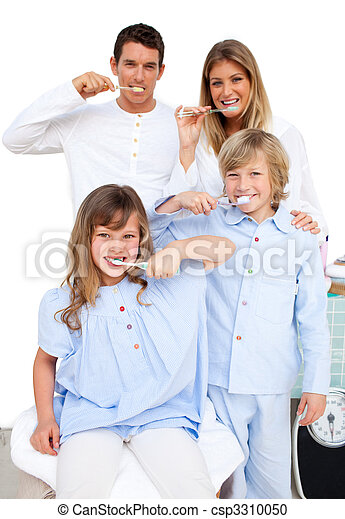Jolly family brushing their teeth - csp3310050