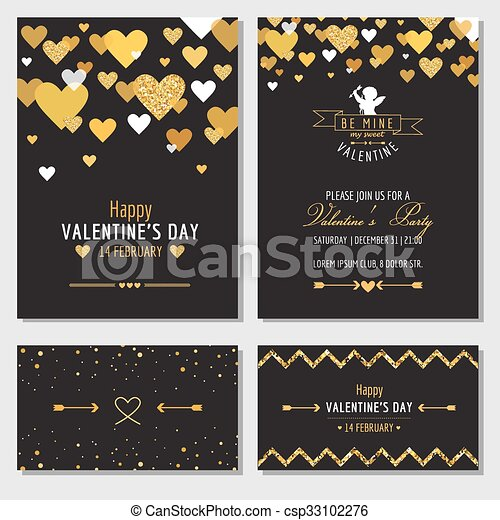 Set of Love Cards with Gold Glitter - Wedding, Valentine's Day, Invitation - in vector  - csp33102276