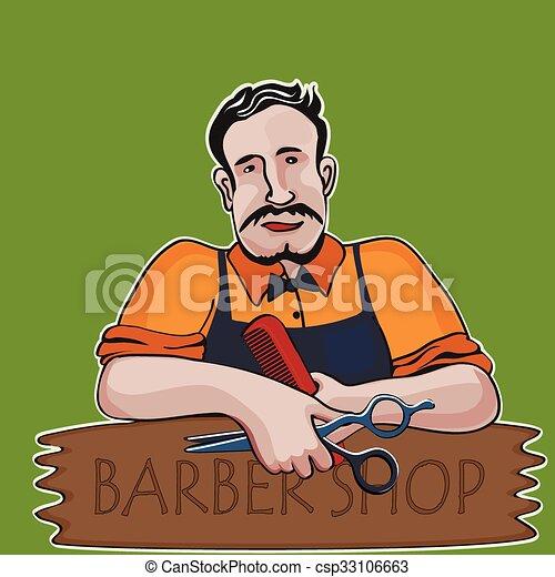 Clip Art Vecteur de Styliste coiffure, magasin, thème, coiffeur ...