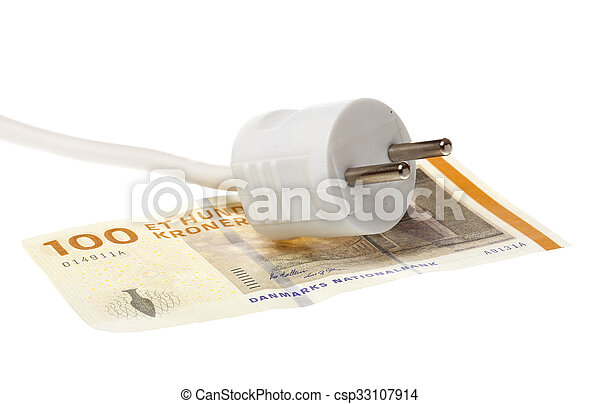 Power plug on Dannish banknote - csp33107914