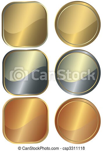 Set of round and square metal counters - csp3311118