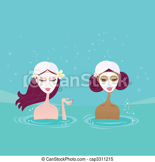 Spa girls relaxing in water pool - csp3311215