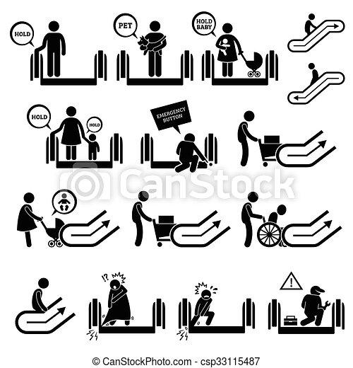 vector of escalator warning signs and symbols a set