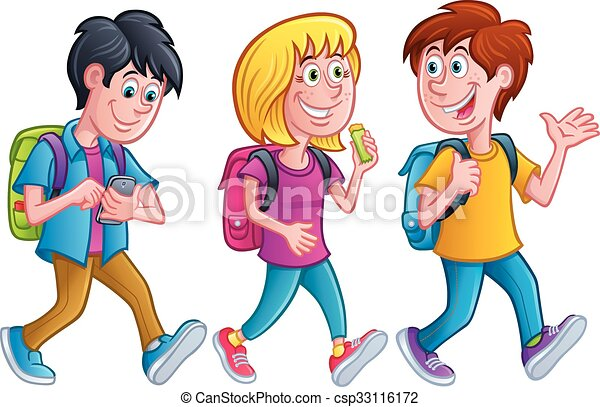 Vector Clip Art of Walking Kids - Illustration of Walking Kids ...
