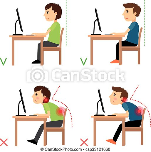 Clip Art Vector Of Incorrect And Correct Back Sitting