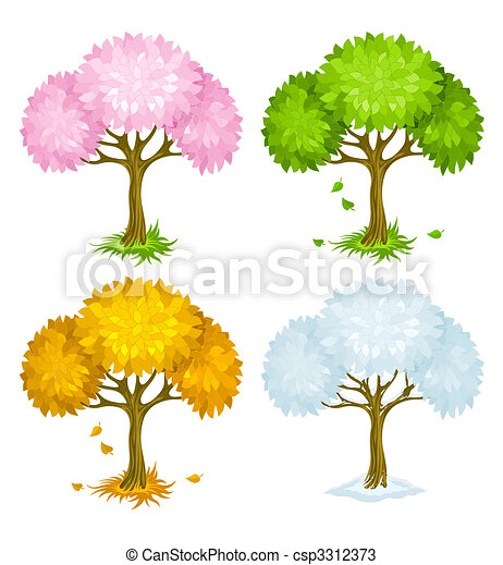 set of trees from different seasons - csp3312373