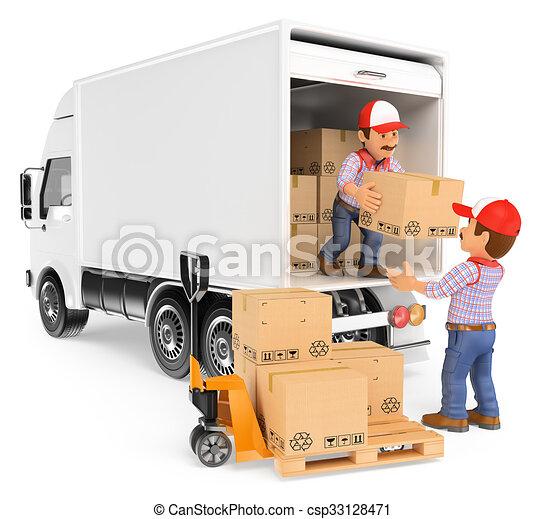 Illustrations de Ouvriers, camion, boîtes, déchargement ...