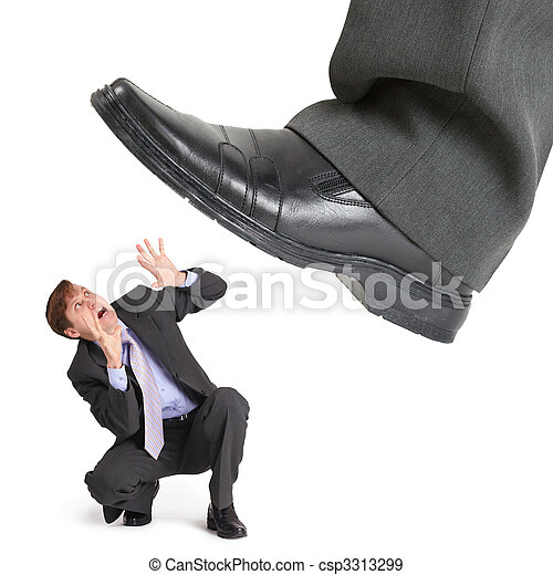 Big foot of crisis crushes small entrepreneur - csp3313299