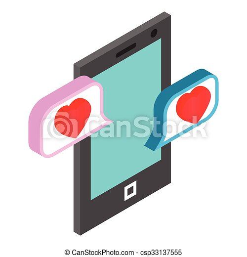 Chat bubbles with heart - csp33137555