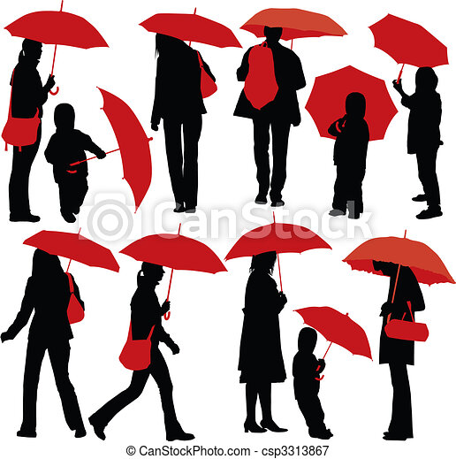 People with umbrellas - csp3313867