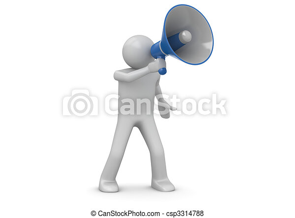 Making announcement over loudspeaker - csp3314788