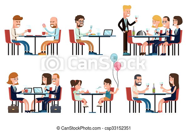 Clipart Vector of People eating and talking in restaurant or ...