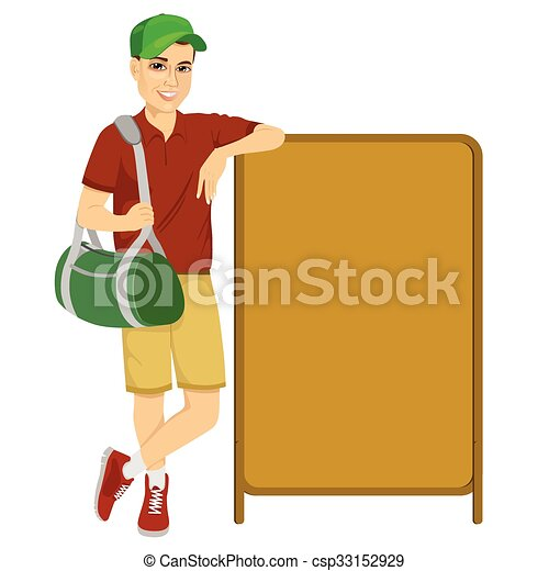 athlete leaning against a red blank board - csp33152929