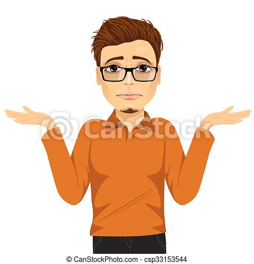 EPS Vector of young man with glasses in doubt making shrug ...