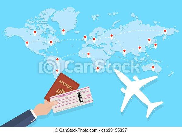 World map and hand with passport - csp33155337