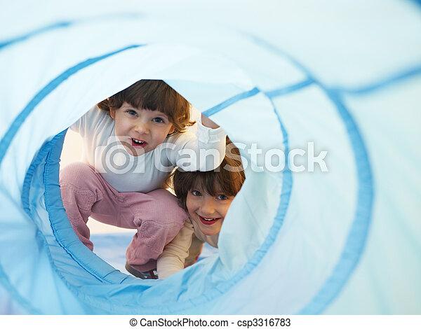 two little girls playing in kindergarten - csp3316783