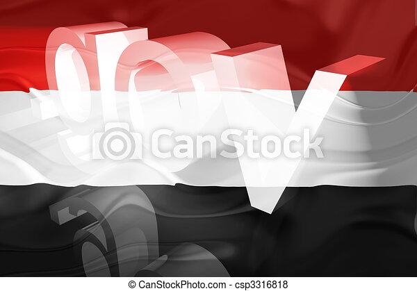 Flag of Yemen wavy government - csp3316818