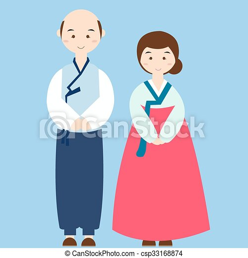 vectors illustration of couple wearing korean traditional
