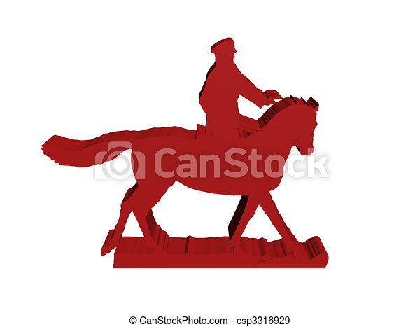 silhouette of military horseman on white 3D isolated - csp3316929