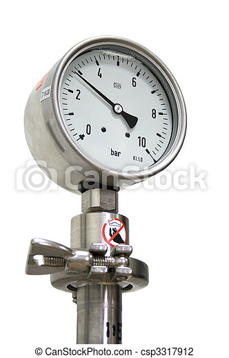 Pressure Gauge isolated On White - csp3317912