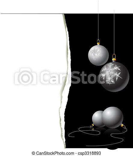 Christmas card - black and white bulbs - csp3318893