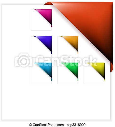 Set of colorful corner ribbons - csp3318902