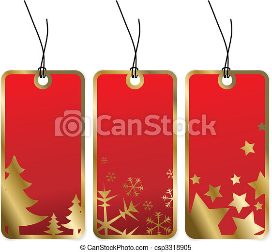 Red Christmas tags with golden borders - csp3318905