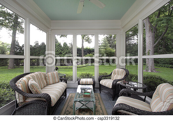 Porch with wicker furniture - csp3319132