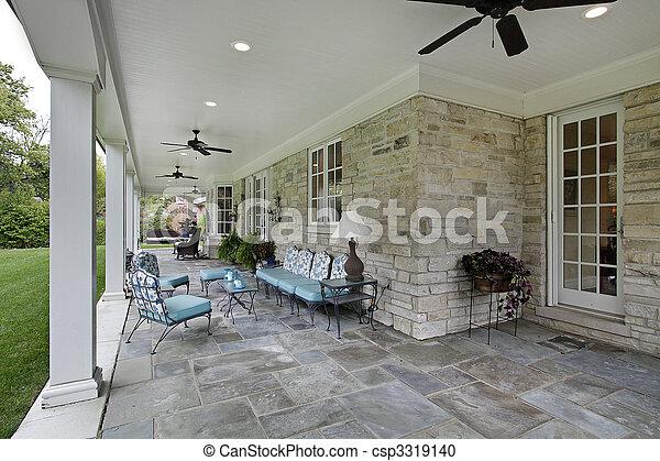Bluestone patio with columns - csp3319140