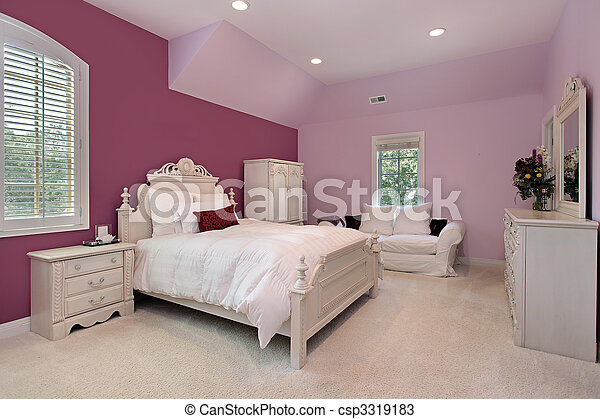 Girl's pink bedroom in luxury home - csp3319183