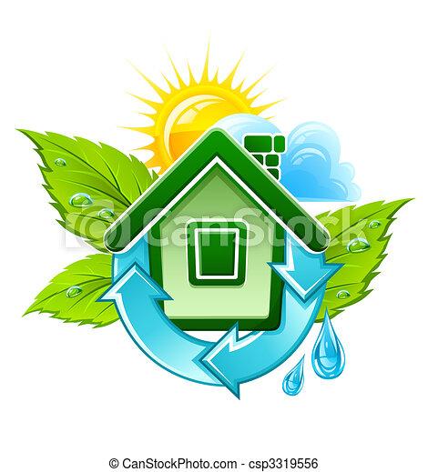 casa, símbolo, ecológico - csp3319556