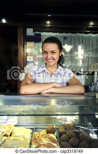 happy owner of snack-bar - csp3319749
