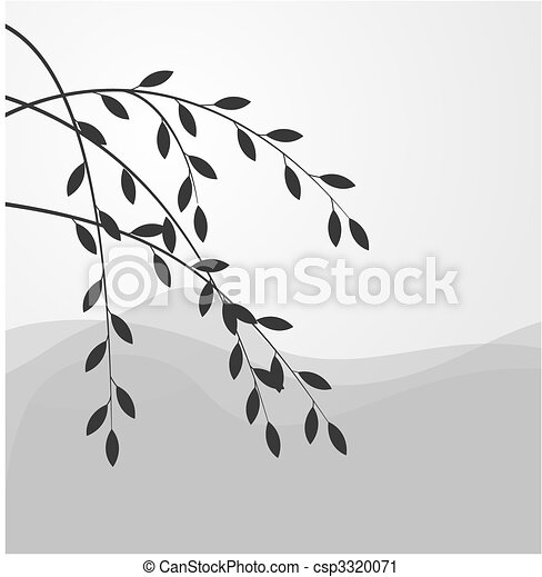 Silhouette of willow branch - csp3320071