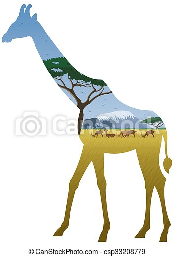Giraffe Landscape - csp33208779