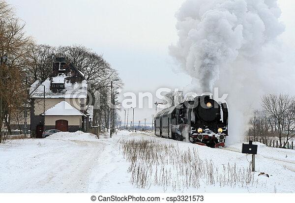 Old retro steam train - csp3321573