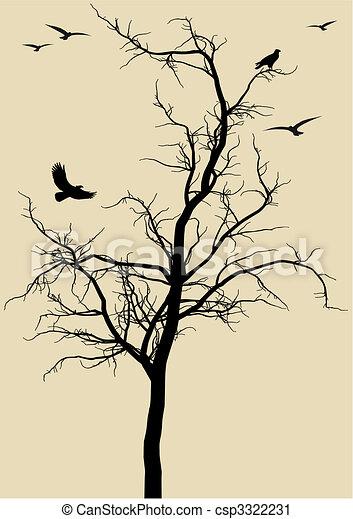 Vector Clip Art Of Tree With Birds Vector