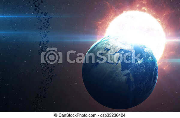 High Resolution Planet Earth view. The World Globe from Space in a star field showing the terrain and clouds. Elements of this image are furnished by NASA