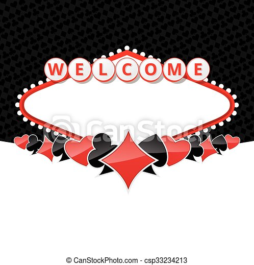 Welcome sign background with card suits - csp33234213