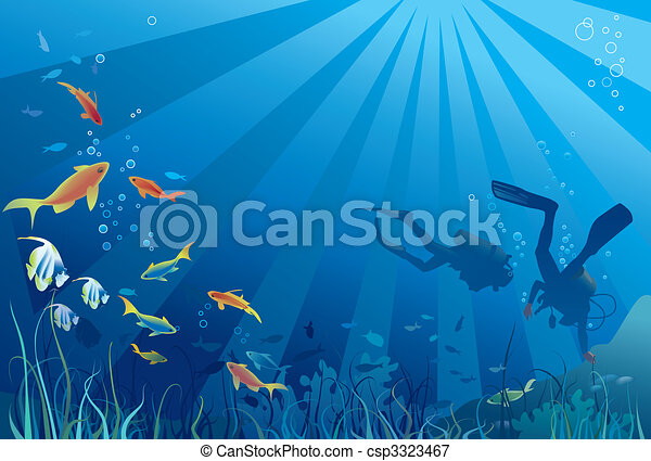 Scuba divers, sea life - csp3323467