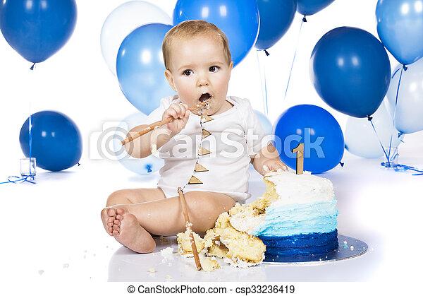 Baby smashing cake