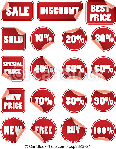 Set of red duscount price labels - csp3323721