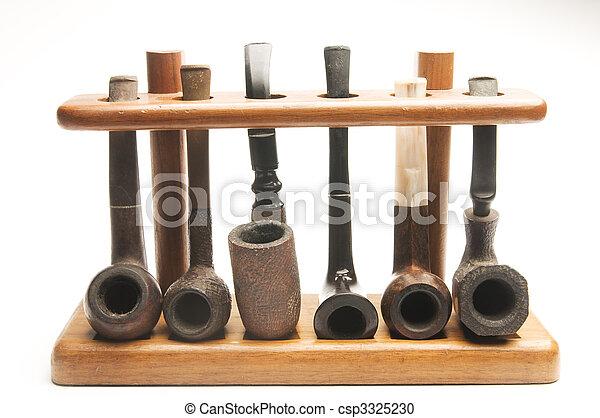 pijp, Verzameling, hout, pijp, rek - csp3325230
