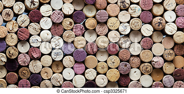 panoramic close-up of wine corks - csp3325671